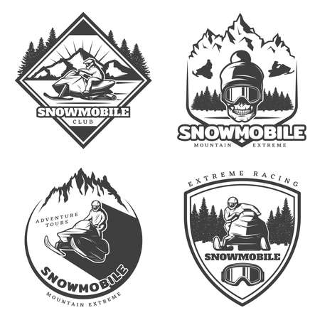 Vintage active leisure emblems set of extreme winter sport with drivers riding snowmobiles and skull isolated vector illustration