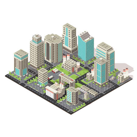 City isometric concept with office and industrial buildings truck parking environmental and road infrastructure vector illustration