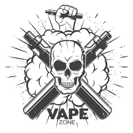 Vintage vape label with skull vaporizers smokes hand holding electronic cigarette and sunburst isolated vector illustration