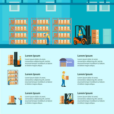 Logistic warehouse infographics with storage workers processes of lifting calculation loading and transportation vector illustration Vektorgrafik