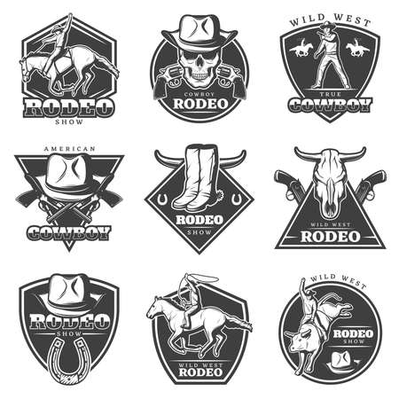 Monochrome rodeo labels set with cowboys weapon animals and wild west elements in vintage style isolated vector illustration