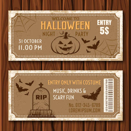 Halloween party flyer of tan color with holiday attributes and barcode on wooden background isolated vector illustration