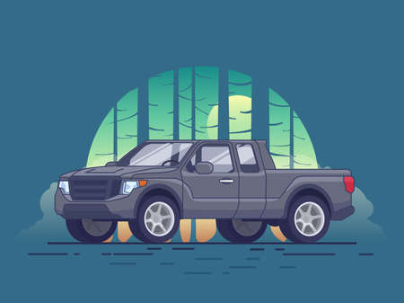 Gray pickup truck concept of modern design with forest landscape in flat style vector illustration