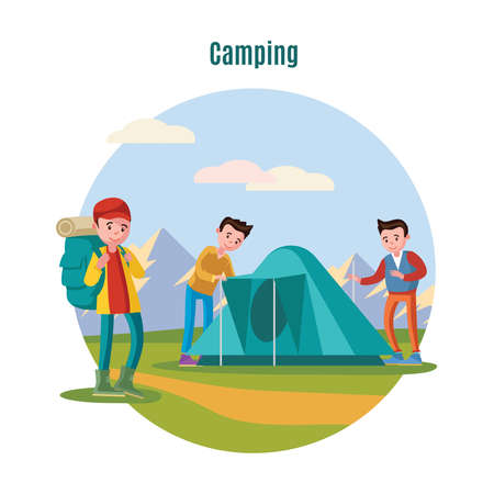 Colorful camping and backpacking template with group of young tourists setting up tent on grass vector illustration