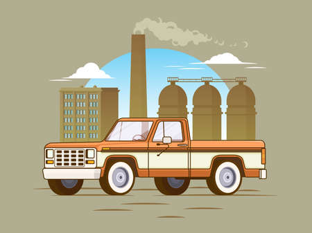 Classic american pickup truck concept with industrial manufacturing landscape in flat style vector illustration