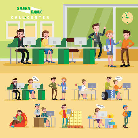 Colorful helpline composition with operators of bank police shop event car repair and medical online services vector illustration Ilustração Vetorial