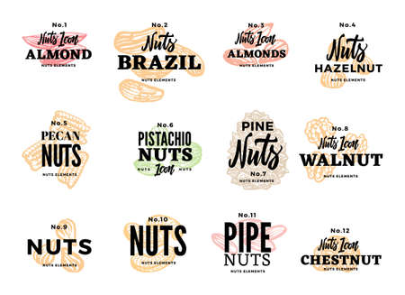 Organic food logos set with different kinds of nuts and inscriptions in sketch style isolated vector illustration