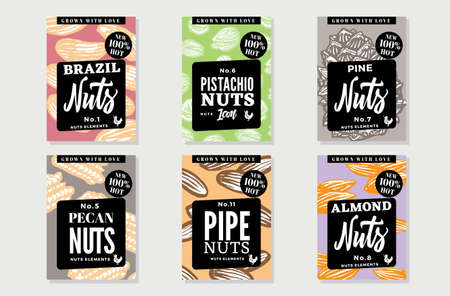 Sketch natural healthy food posters with nuts of different types and sorts in vintage style vector illustration