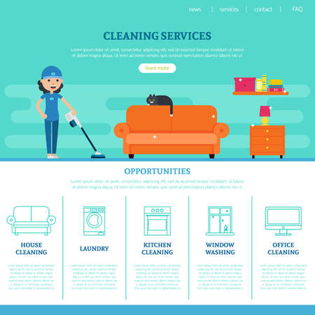 Cleaning company web page template with different services in flat style vector illustration