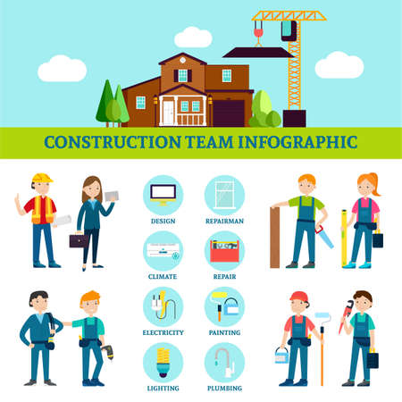 Construction team infographic template with house repair workers with professional equipment and tools in flat style vector illustration Векторная Иллюстрация