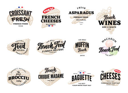 Sketch french food logos set with black inscriptions and traditional meals isolated vector illustration Logo