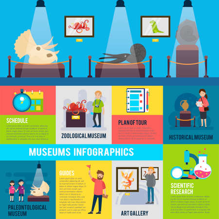 Colorful excursion infographic concept with people attending museums exhibitions and art gallery vector illustration
