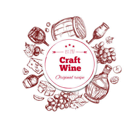Red wine craft production concept with ingredients barrel bottle and glass in hand drawn style isolated vector illustration