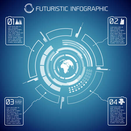 Virtual futuristic infographic template with user interface globe text and icons on blue background vector illustration