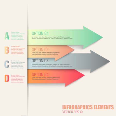 Flat pastel colorf infographic elements with numbered text fields in arrows on white background vector illustration