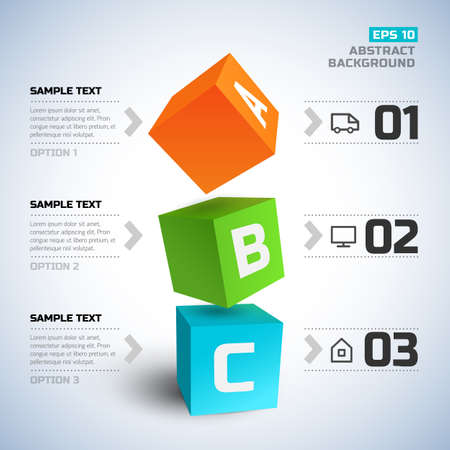 Geometric infographic elements with 3d cubes text line icons three options on light background vector illustration