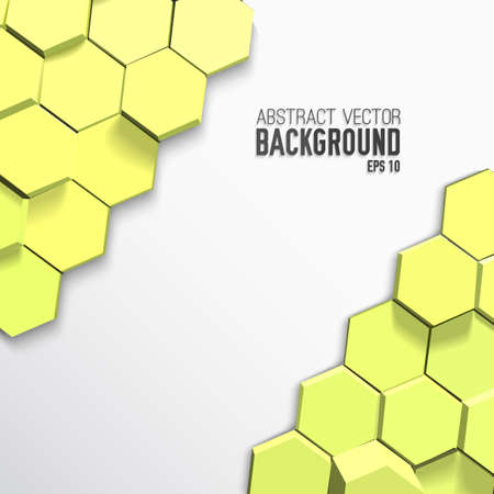 Light geometric poster with green 3d hexagons in mosaic style and gray background vector illustration