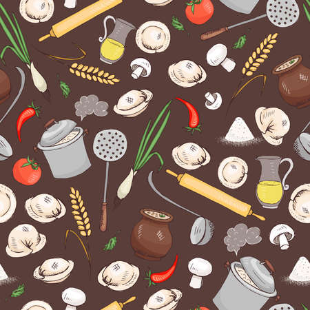 Kitchen and food seamless vector pattern for menu and another restaurant design.