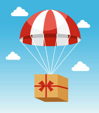 Delivery Concept - Attractive Red and White Parachute Carrying Delivery Cardboard Box on Light Blue Sky Background with White Clouds.