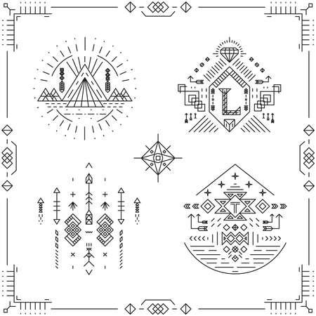 Tribal line vintage hipster frames. Graphic border ornament, art style element. Vector illustration Vecteurs