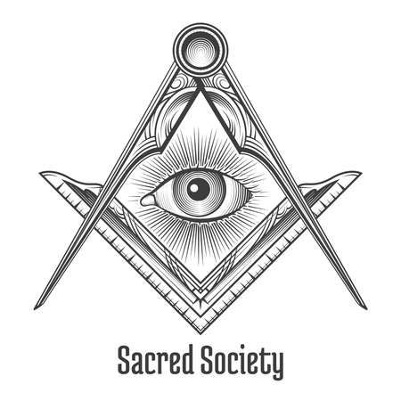 Masonic square and compass symbol. Mystic occult esoteric, sacred society. Vector illustration