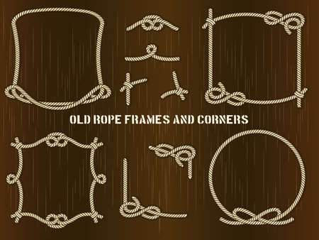Set of Old Rope Frames and Corners in Different Unique Styles on Abstract Brown Background. Vetores