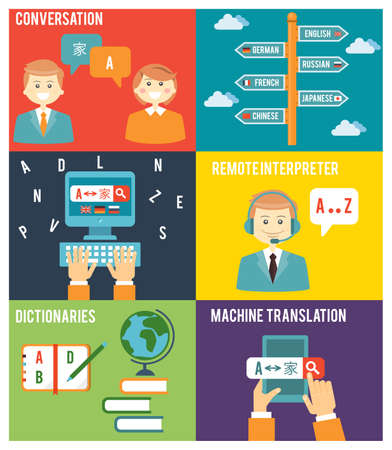 Colorful Flat Style Graphic Design of Learning Foreign Language Concept
