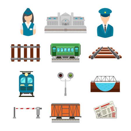 Vector set of railroad icons in flat style. Bridge and gate, ticket and railway station, driver and conductor, platform transportation illustration Vektoros illusztráció