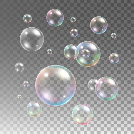 Transparent multicolored soap bubbles vector set on plaid background. Sphere ball, design water and foam, aqua wash illustration Vecteurs