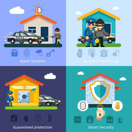 Home security system flat vector background concepts. House design technology, symbol safety control protection illustration Vecteurs