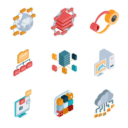 Isometric Big data analysis colorful icons on the white background. Vector and illustration Vecteurs