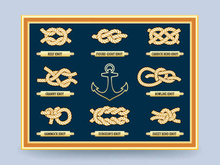 Nautical rope knots on the board in frame. Bowline knot and the figure eight. Vector illustration Ilustración de vector