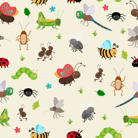 Seamless background bugs and beetles, ant and caterpillar, grasshopper. Vector illustration Vektorgrafik