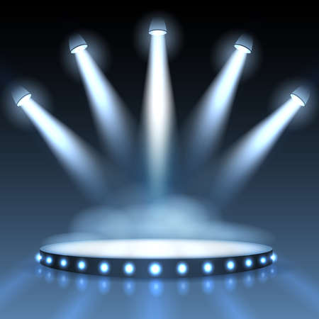 Illuminated podium with spotlights. Abstract background presentation. Show with spotlight, scene or stage studio empty. Vector illustration Vector Illustration