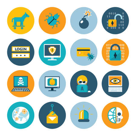 Hacker flat icons. Badges in colorful circles on a white background. Vector illustration