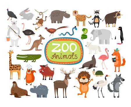 Vector Zoo Animals. Many different animals, giraffe, elephant, rhino and monkey