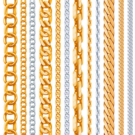 Gold and silver chains vector set. Link metallic, shiny element, object iron strong illustration Векторная Иллюстрация