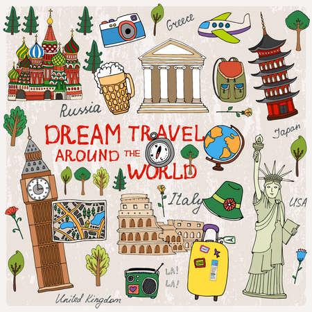 Time to Travel with landmarks from different countries
