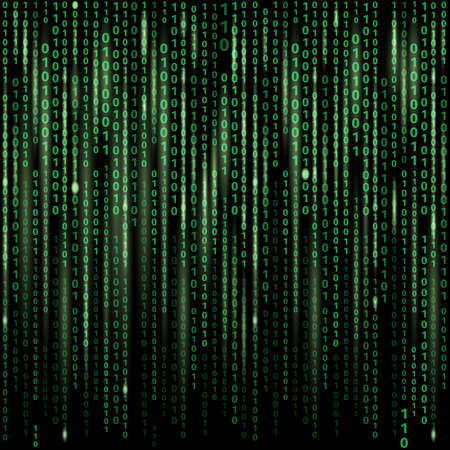 Stream of binary code on screen. Abstract vector background. Data and technology, decryption and encryption, computer matrix illustration Vetores