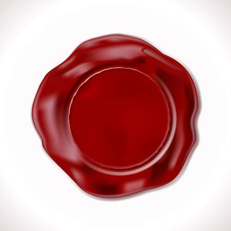 Perfect Wax Seal Isolated on white. Vector Illustration. EPS10 opacity