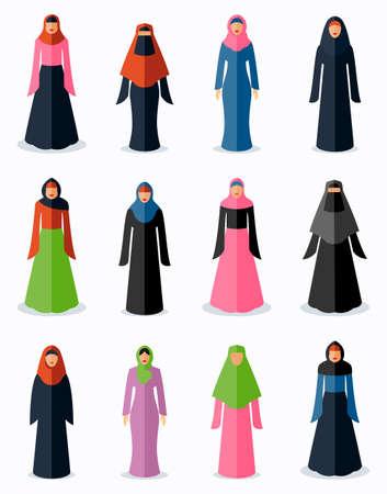 Muslim woman flat icons. Female traditional culture, arabic islam religion, vector illustration