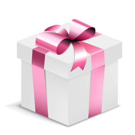 Gift Box white with pink bow isolated on white. Vector Illustration. EPS10 opacity Vector Illustratie