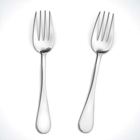 Realistic Steel Fork isolated on white. Vector Illustration. EPS10 opacity Vetores