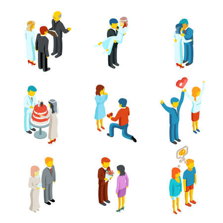 Isometric 3d relationship and wedding people icons set. Couple love, people woman and man family, vector illustration