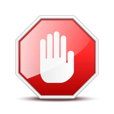 No entry hand sign isolated on white background Vetores
