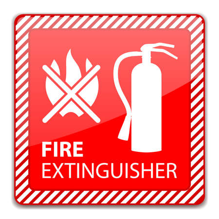 Red Fire Extinguisher Sign isolated on white. Vector Illustration