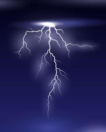 Vector Lightning on black and blue background Ilustração Vetorial