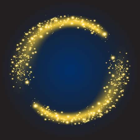 Star dust circle. Sparkle shiny glow bright round, glitter illuminated. Vector illustration