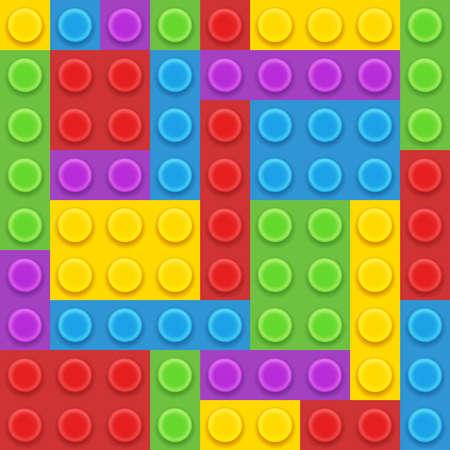 5 colors blocks plastic constructor vector illustration Vektoros illusztráció