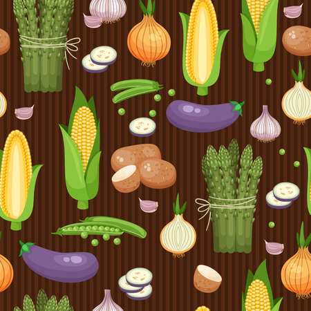 Seamless background asparagus, corn and peas on the brown-stripes. Vector illustration